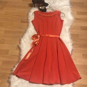 Haani coral orange dress with satin sash